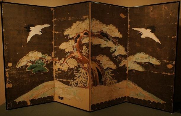 正行寺本堂襖《松鶴図屏風(東余間北側旧襖)》江戸・寛政期