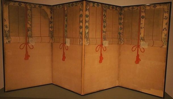 御簾図屏風 (御簾の間、西余間西側旧襖)