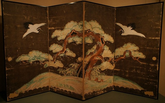 正行寺本堂襖《松鶴図屏風(西余間北側旧襖)》 江戸・寛政期